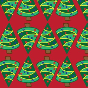 Geometric Christmas trees on red