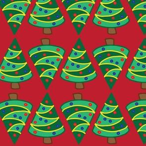 Geometric Christmas trees on red