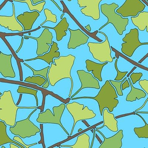 Green Ginkgo Leaves on Bright Blue