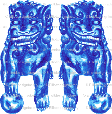 Chinese Guardian Lion Twins in Blue Porcelain