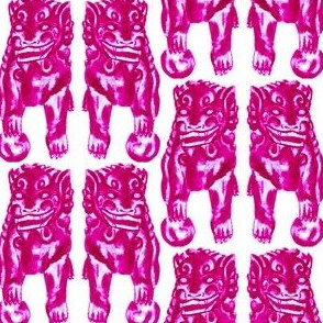 Chinese Guardian Lion Twins in Pink Peony