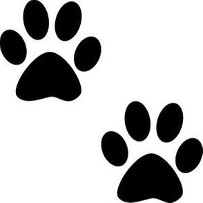Three Inch Black Paws on White