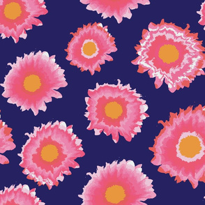 Pink marguerites on a blue background