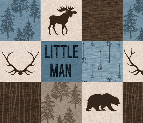 Little Man Woodland Quilt - blue and brown -  bear, moose, antlers, hunting fabric by sugarpinedesign on Spoonflower - custom fabric