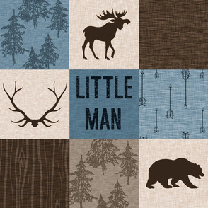 Little Man Woodland Quilt - blue and brown -  bear, moose, antlers, hunting