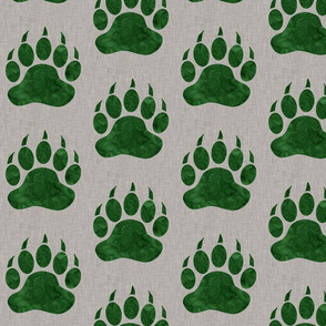 Bear Paw - Forest Green Watercolor on Light Taupe Linen