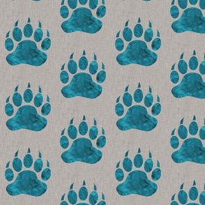 "5"" Bear Paw - Teal Watercolor on Light tAupe Linen"