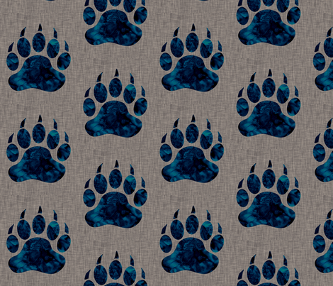 "5"" Bear paw - navy watercolor on dark taupe linen fabric by sugarpinedesign on Spoonflower - custom fabric"