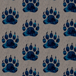 "5"" Bear paw - navy watercolor on dark taupe linen"