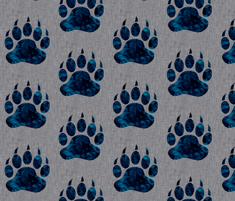 """5"""" Bear paw - navy watercolor on grey linen fabric by sugarpinedesign on Spoonflower - custom fabric"""