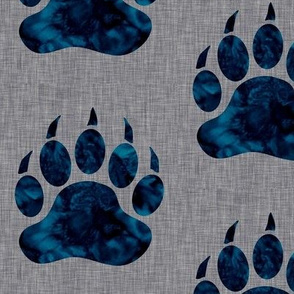 "5"" Bear paw - navy watercolor on grey linen"