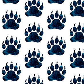 """5"""" Bear Paw - Navy watercolor on white"""