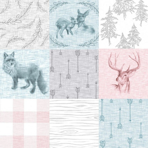 Woodland Snow Quilt for Girls - deer, Fawn, fox, Plaid, arrows in pink, Aqua, grey, and white
