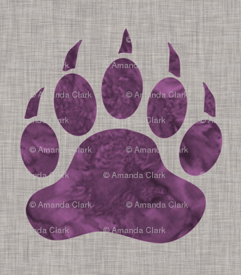 """5"""" Bear Paw - Violet watercolor on Light Taupe Linen Texture"""