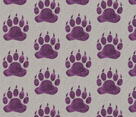 """5"""" Bear Paw - Violet watercolor on Light Taupe Linen Texture fabric by sugarpinedesign on Spoonflower - custom fabric"""