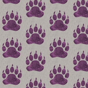 "5"" Bear Paw - Violet watercolor on Light Taupe Linen Texture"