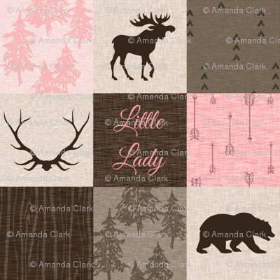Little Lady Rustic Woodland Quilt - pink and brown - bear, moose, antlers