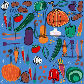 Fall Veggies Blue
