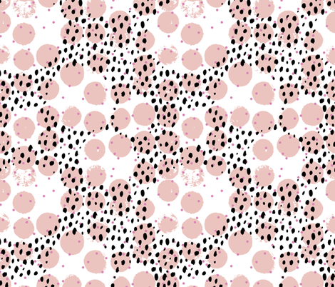 Abstract rain raw brush spots and dots cool trendy pastel print LA style pink fabric by littlesmilemakers on Spoonflower - custom fabric
