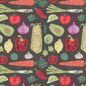 Fresh Vegetable linoprint