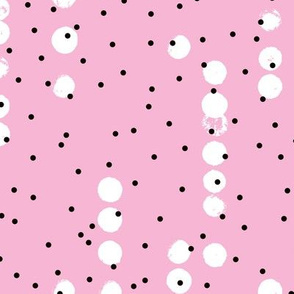 Strings of dots raw brush spots and rain drop neon abstract pop design in pink