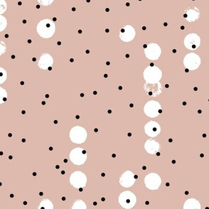 Strings of dots raw brush spots and rain drop pastel abstract pop design in beige