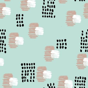 Abstract raw brush dots and dashes pop design in mint