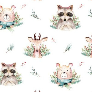 Watercolor new year holidays forest animals: baby deer, bear and raccoon