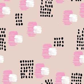 Abstract raw brush dots and dashes pop design in pink