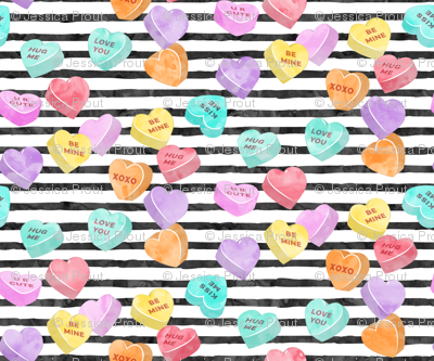 valentines day heart candy - conversation hearts  on stripes