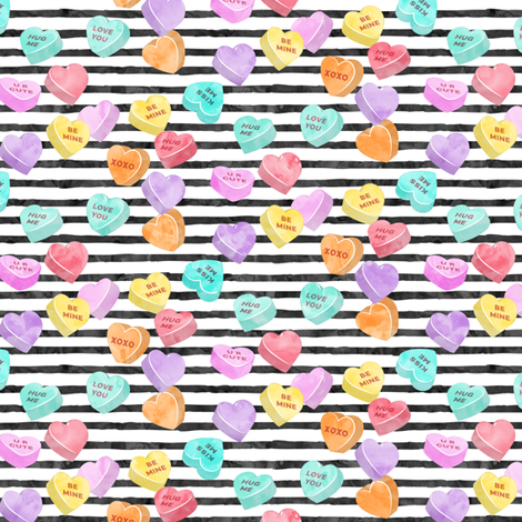 valentines day heart candy - conversation hearts  on stripes fabric by littlearrowdesign on Spoonflower - custom fabric