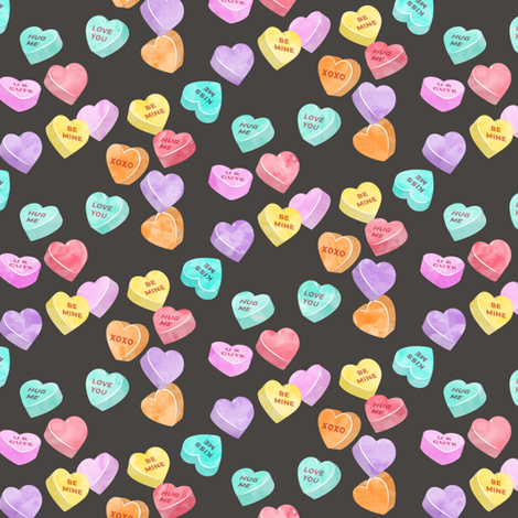 valentines day heart candy - conversation hearts on dark grey fabric by littlearrowdesign on Spoonflower - custom fabric