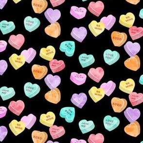 valentines day heart candy - conversation hearts on black