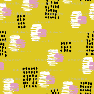 Abstract raw brush dots and dashes pop design in mustard