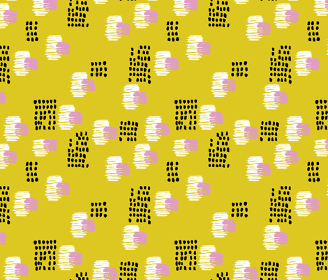 Abstract raw brush dots and dashes pop design in mustard fabric by littlesmilemakers on Spoonflower - custom fabric