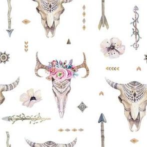 Watercolor skull and arrows2-2