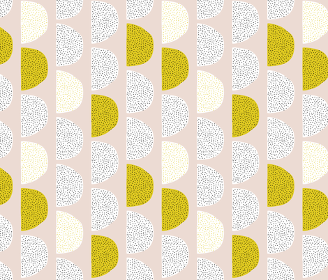 Scandinavian retro moon phases circles soft pastel moon gender neutral mustard fabric by littlesmilemakers on Spoonflower - custom fabric