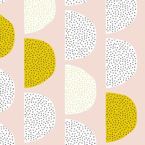 Scandinavian retro circles soft pastel moon gender neutral mustard