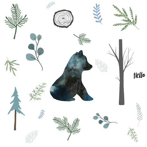 "8"" Hello Winter Bear Silhouette fabric by shopcabin on Spoonflower - custom fabric"