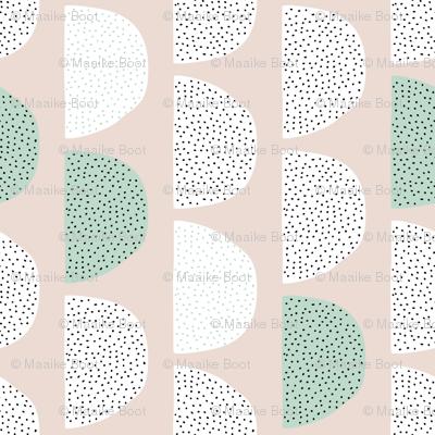 Scandinavian retro circles soft pastel moon gender neutral mint