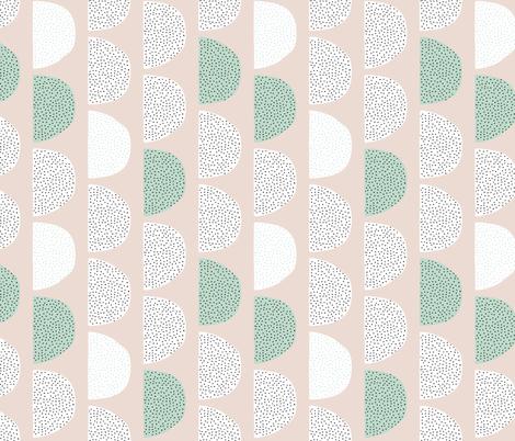 Scandinavian retro circles soft pastel moon gender neutral mint fabric by littlesmilemakers on Spoonflower - custom fabric