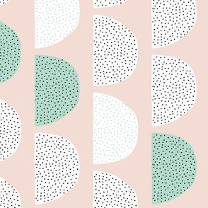 Scandinavian retro circles soft pastel moon gender neutral mint