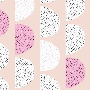 Scandinavian retro circles soft pastel moon pink girls