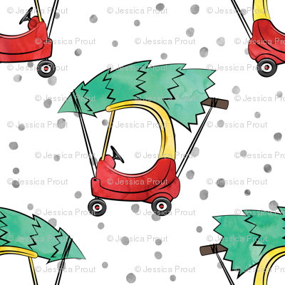 (small scale) kids car with Christmas tree - watercolor w/ snow