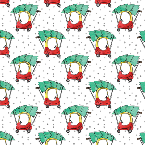 (small scale) kids car with Christmas tree - watercolor w/ snow fabric by littlearrowdesign on Spoonflower - custom fabric