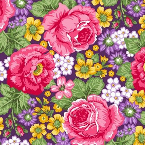 Roses & Vintage Flowers on Purple