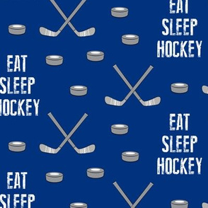 eat sleep hockey - blue
