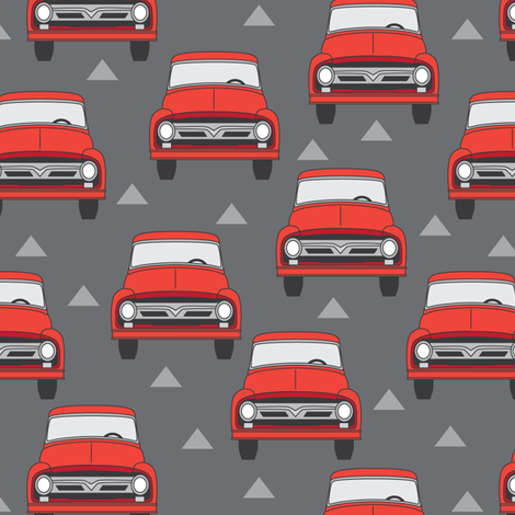 vintage red trucks on charcoal fabric by lilcubby on Spoonflower - custom fabric
