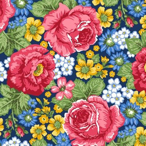 Red Roses & Vintage Flowers on Navy Blue