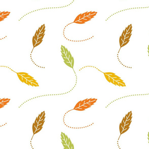Green, Yellow, Orange, and Brown Leaves on White, Fall Colors, Floating Autumn Leaves